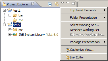 Project Explorer with default options